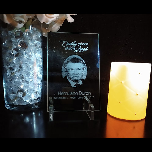 Personalized Engraved Memorial Glass Plaque