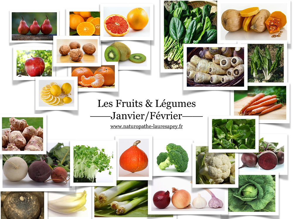 Laure Sapey - Naturopathe Lyon Grenoble | Fruits et Légumes de saison consommés en Janvier et Février pour une santé naturelle et conseillés par votre naturopathe  laure sapey Lyon Grenoble