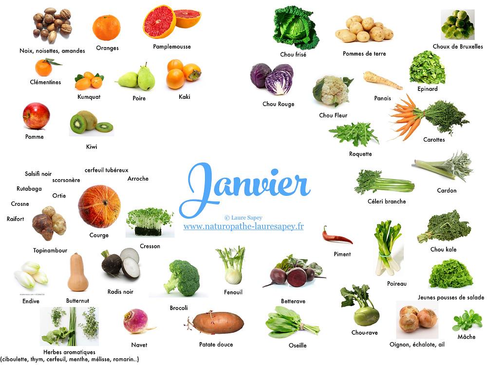 Laure Sapey - Naturopathe Lyon Vileurbanne | Fruits et Légumes de saison du mois de janvier