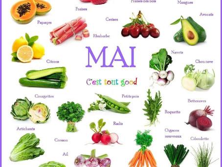 Cuisinez de saison, découvrez les fruits & légumes du mois de Mai
