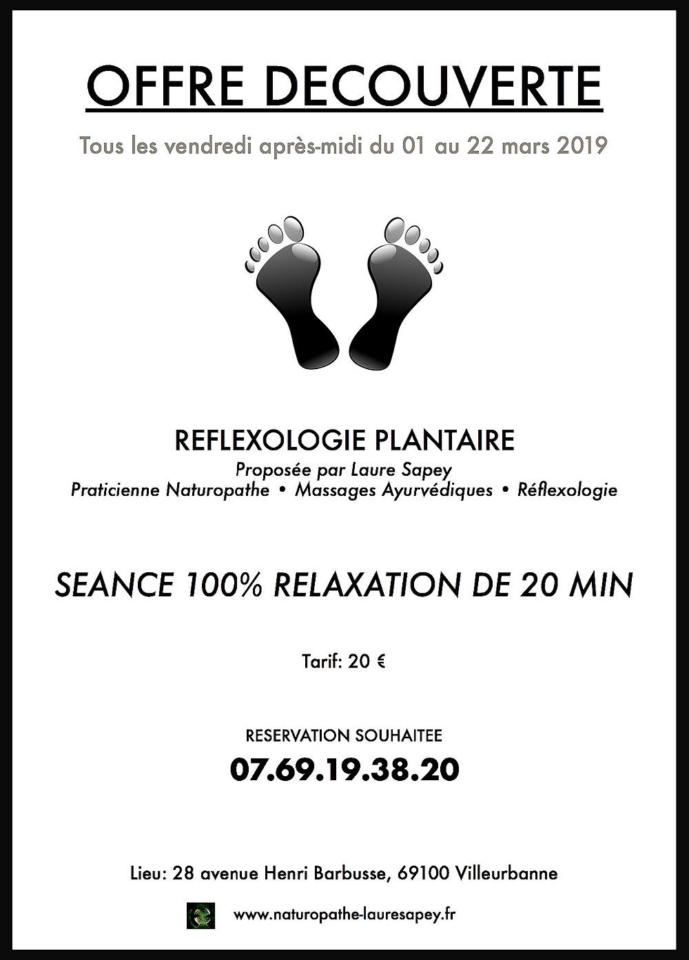 offre découverte de réflexologie plantaire Villeurbanne et Lyon