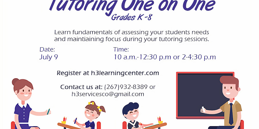 Help them learn!  Tutoring 1-1 for Grades K-8 Cost: $30