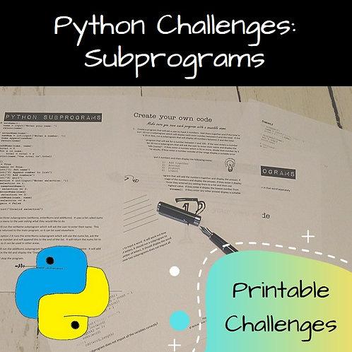 Subprograms Printable Challenges