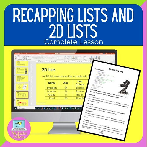 GCSE Recapping Lists and 2D Lists