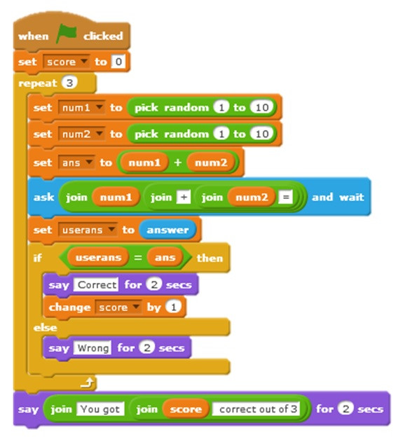 Maths Quiz in Scratch