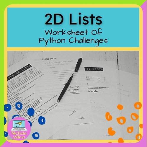 2D Lists Printable Challenges