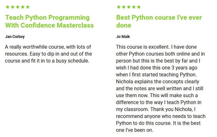 Python Training 5 star Reviews