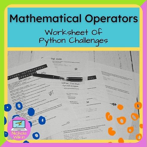 Mathematical Operators Printable Challenges