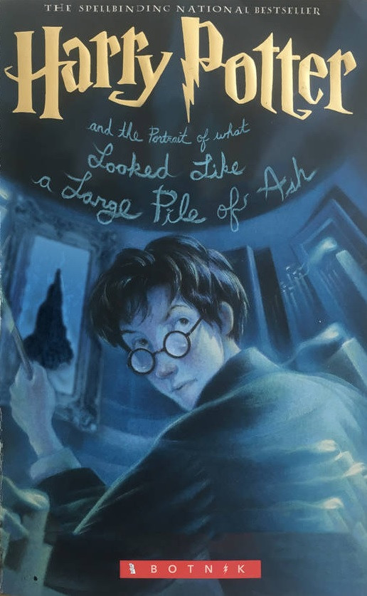 Harry Potter and the portrait of what looked like a large pile of ash