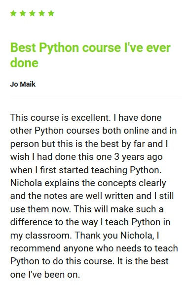 5 star review for Python Programming course