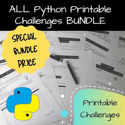 Python Printable Challenges Bundle
