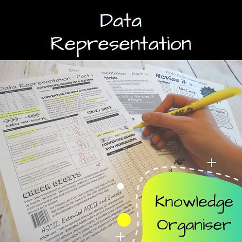 Data Representation Knowledge Organiser