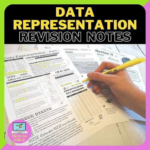 Data Representation Knowledge Organiser