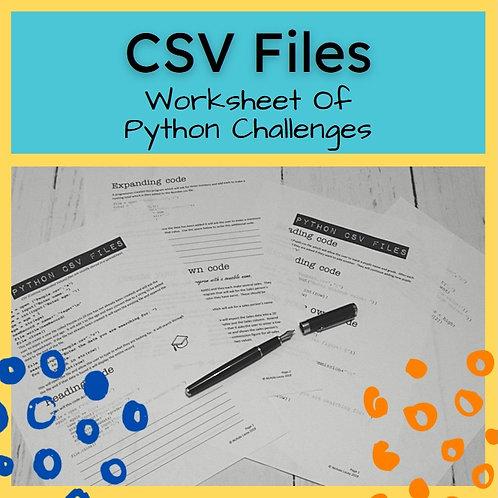 CSV Files Printable Challenges