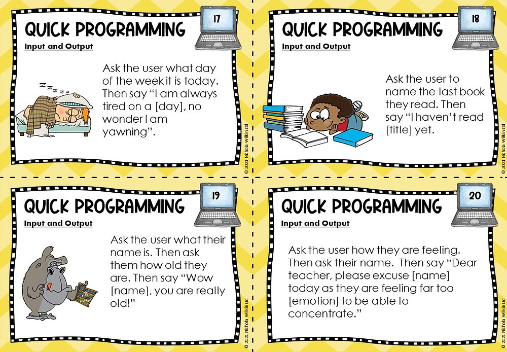 inout and output programming task cards