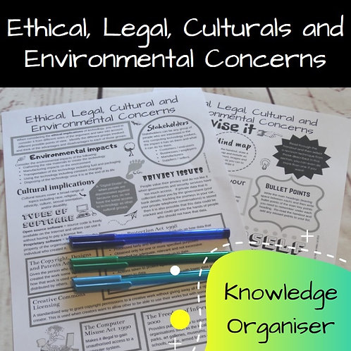 Ethical, Legal, Cultural and Environmental Concerns Knowledge Organiser