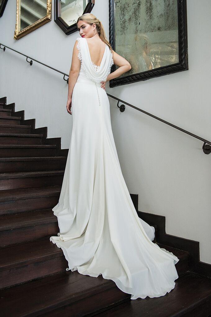 Ivory White Wedding Dress Statement Waterfall back silk fabric lace detailing