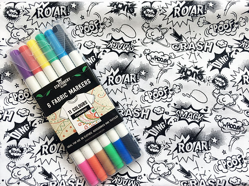 Black and White Fabric with Colouring Pens - Option 2