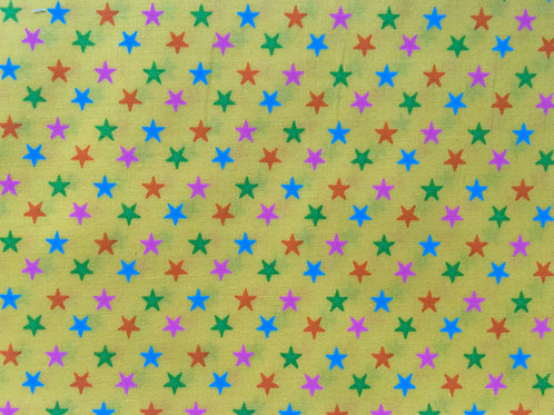 Yellow Fabric with Multicoloured Stars