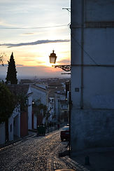 sunset City view of Granada with Alhambr