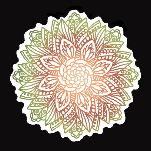 Mandala Flower Sticker in Earth Tones