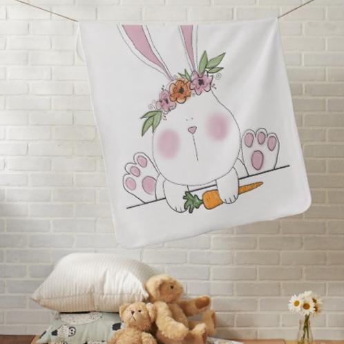 Boho Bunny Baby Blanket Customizable