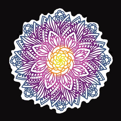Mandala Flower Sticker in Purple, Blue