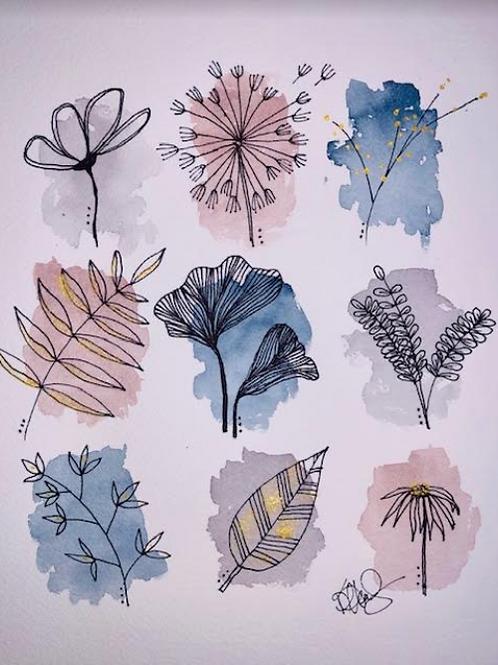 Nature Study Abstract Watercolor Original Painting