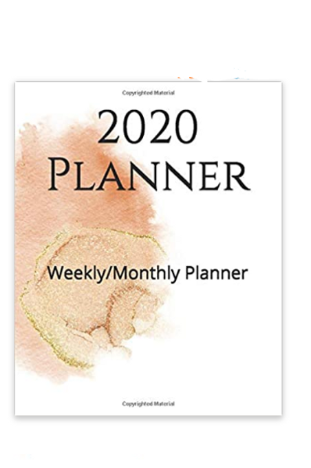 2020 Planner Peach & Gold Watercolor Splash
