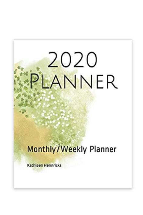 2020 Planner Lime & Gold Watercolor Splash