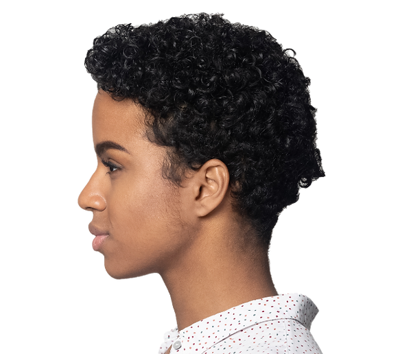 profile of young biracial woman with short hair