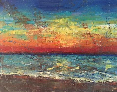 Abstract Beach Sunset 18x24