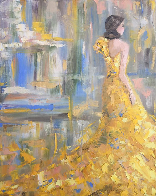 """Yellow Gown  16x20"""""""