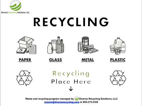 Single Stream Recycling Bin Label