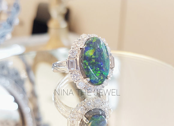 Black Opal in Platinum Ring