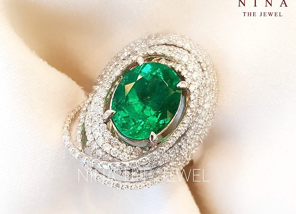 3.71ct Colombian Emerald Ring