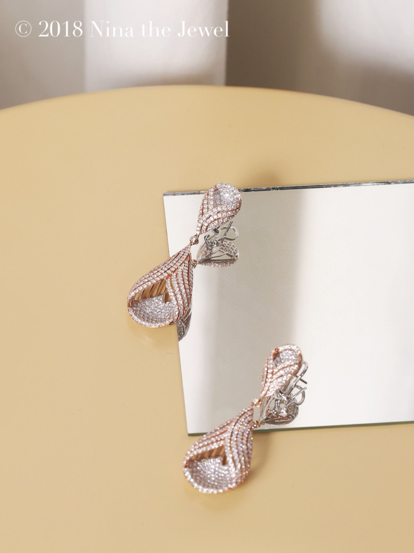 Diamond Earrings in Pink