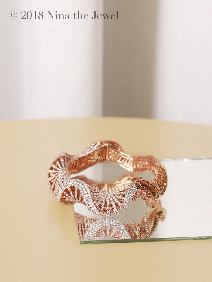 Diamond Bangle in Pink