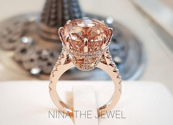 Morganite Princess-liked Ring