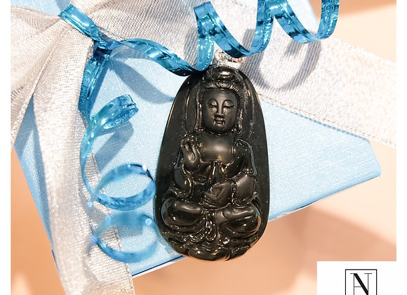 Authentic Black Jade GuanYin pendant