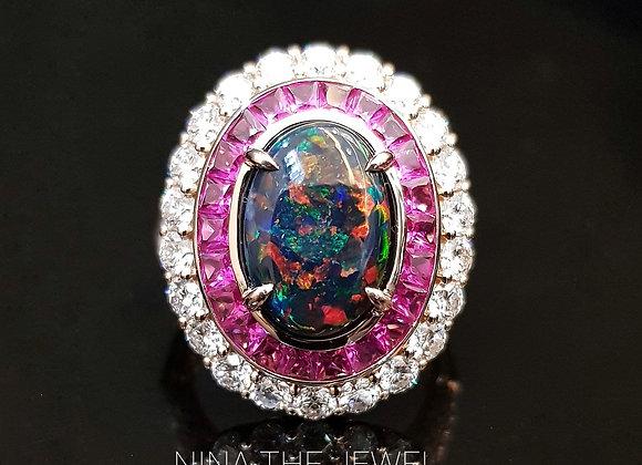 2.54ct Black Opal Art Deco Ring