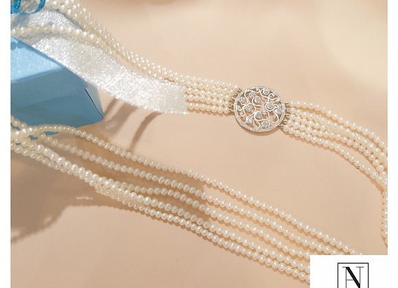 Elegant long fresh water pearl necklace with diamond pendant