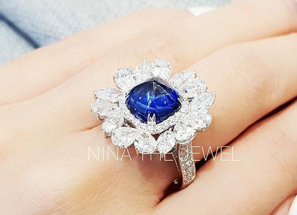 Sugarloaf Blue Sapphire Ring