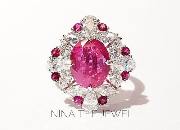 Pinkish Ruby adorn with Fancy Diamonds