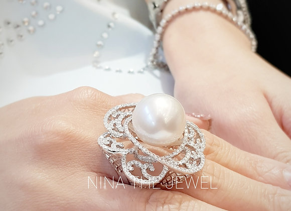 15.9mm White Pearl Ring