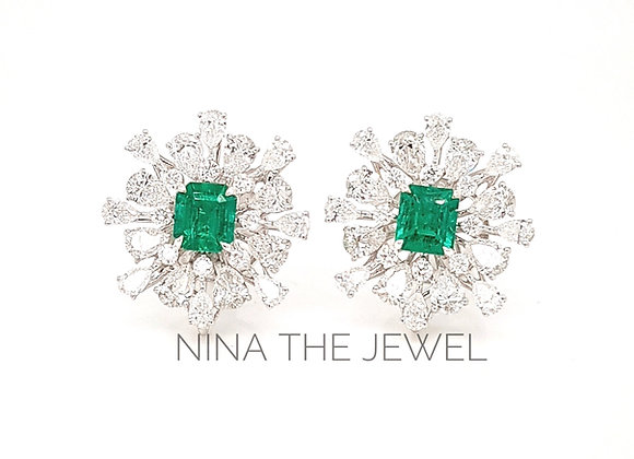 Colombian emerald+firework inspired studs