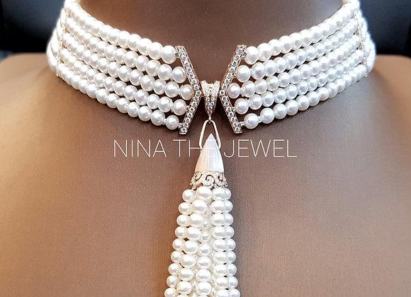 Art Deco Inspired Pearl Choker