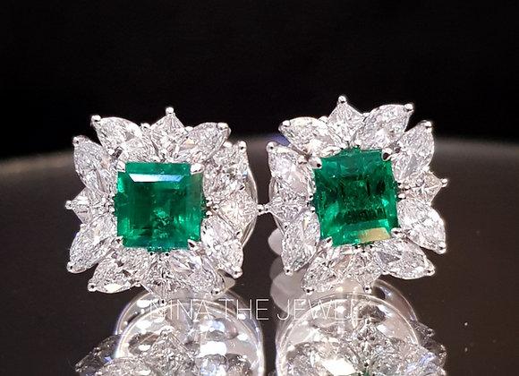 1.32ct Colombian Emerald Earrings