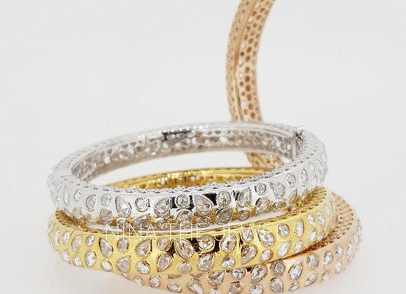 Tri-color Rose Cut Diamond Bangles