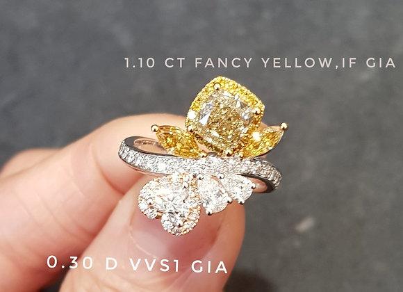 Fancy yellow twist ring